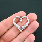 5 Heart Wings Charms Antique Silver Tone Memorial Angel Charm SC4709