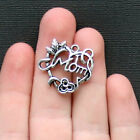 6 Mom Charms Antique Silver Tone Intricate Heart Design SC2237