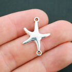 8 Starfish Connector Charms Antique Silver Tone SC1576