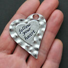 Large Heart Charm Antique Silver Tone Follow Your Heart SC1524