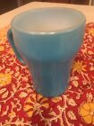 Vintage FIRE KING TEAL BLUE or TURQUOISE COFFEE TEA MUG Glass Oven Ware D Handle
