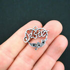 6 Sister Charms Antique Silver Tone Heart with Flowers SC3475