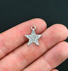 4 Star Charms Antique Silver Tone with Beautiful Inlaid Rhinestones SC3451