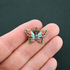 2 Butterfly Charms Antique Bronze Tone With Red And Blue Enamel BC595