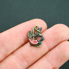 4 Witch Charms Antique Bronze Tone with Touch of Enamel BC1281