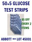 50+5 Abbott Blood GLUCOSE Diabetic Test Strips for PRECISION XTRA