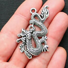 2 Dragon Charms Antique Silver Tone Extra Large and Beautiful Details SC1499
