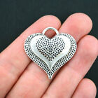 2 Large Heart Charms Antique Silver Tone SC574