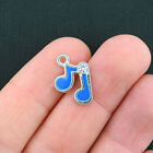 6 Music Note Charms Silverplated Enamel with Inset Rhinestone E151