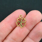 12 Four Leaf Clover Charms Antique Gold Tone 2 Sided GC256