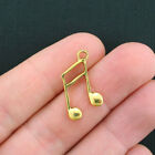 10 Music Notes Charms Antique Gold Tone GC300