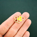 4 Honeycomb Connector Charms Yellow Enamel and Gold Tone GC948
