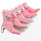 3 Boot Charms Enamel Plated Pink with 2 Rhinestones Fun and Colorful E085