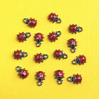 2 Lady Bug Charms Enamel Plated Red with Black Fun and Elegant E131