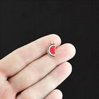 5 Watermelon Charms Gold Plated Enamel Fun and Colorful E294