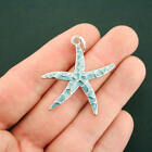 Starfish Charm Silver Plated Enamel Fun and Colorful with Jump Ring E243