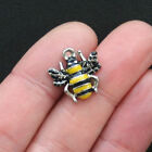 5 Bee Charms Silver Plated Enamel E098