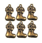 5 Christmas Stocking Charms Antique Bronze Tone BC335