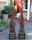 Pair French Vintage Wrought Iron Garden Obelisk Planters Trellis Topiary Holiday