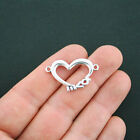 SALE 6 Heart Connector Charms Antique Silver Tone Love Connector SC405