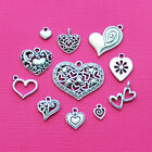 Heart Charm Collection Antique Silver Tone 11 Different Charms COL008