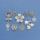 Flower Charm Collection Antique Silver Tone 10 Different Charms COL083