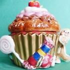 FITZ & FLOYD 'CANDY LANE' handcrafted cupcake box w/lid