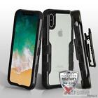 XM For APPLE IPHONE X Black Clear Back Vivid Impact Case Cover+Holster