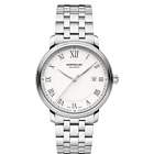 MONT BLANC TRADITION DATE 40MM AUTO WHITE DIAL ROMAN NUMERAL ST STEEL WATCH