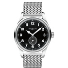 MONT BLANC 1858 AUTO SMALL SECOND BLACK DIAL ST STEEL CASE AND MESH BRC WATCH
