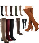Womens Fashion Back Lace Up Chunky Heel Over The Knee Boots Shoes Size 55 11