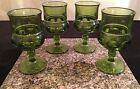 Set of 4 Vintage Indiana Colony Glass Olive Green Kings Crown 8 ounce Goblets