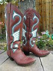 Ladies Custom Made  Hand Painted Leather Tall Cowboy Boots Cool Looking 6 C