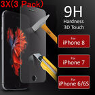 3Pcs Premium Real Screen Protector Tempered Glass Film For iPhone 8 7 6 6s Plus