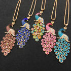 Gold Plated Blue Dark Blue Colorful Pink Purple Peacock Pendant Necklace Chain