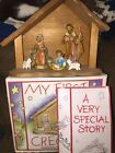 Vintage My First Fontanini Creche Nativity Set Stable 6 Pc