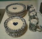 Tienshan Folk Craft Hearts Blue Sponge  Dinnerware  20 Pcs. - Plates