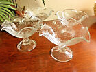 Flowers Vine Fluted Rim Clear Glass Footed Stem Dessert Dishes