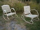 Rare French Art Deco Garden Rocking Chairs Circle Sides Slat Seats Set of 2