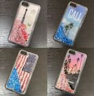 For iPhone 7 8 TPU Rubber Floating Waterfall Liquid Glitters Star Case Cover