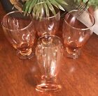 Set of 4 Vintage ?? Clear Peach Colored Glass Tulip Shaped Footed 11oz. Glasses