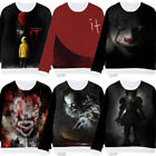 New Stephen King It 2017 New IT Pennywise Clown Movie T-Shirt Swearer Tops Coat