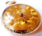 18K Solid Gold Fusee - Excellent pocket watch Runs - Gold Dial - 106.7g - Minty