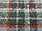 VINTAGE UPHOLSTERY FABRIC CAMPERS LT DKGREEN RUST BLACK BROWN WHITE PLAID