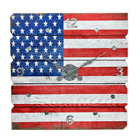 Rustic American Flag Wall Clock Distressed Multi Color Plank Wood Home Art Decor