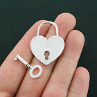 2 Heart Lock and Key Charms Antique Silver Tone 2 Sided or Toggle Set SC4112