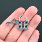 3 Lock and Key Charms Antique Silver Tone 2 Piece Charm SC1271