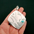 Bird Pendant Charms Antique Silver Tone with Faux Turquoise Large Size SC6521