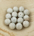 15 Striped Glass Beads 12mm Tones of the Seashore BD204