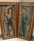 Deco Modern Signed Maio Girls Pressed Board Pictures Prints 22x8 Framed Estate